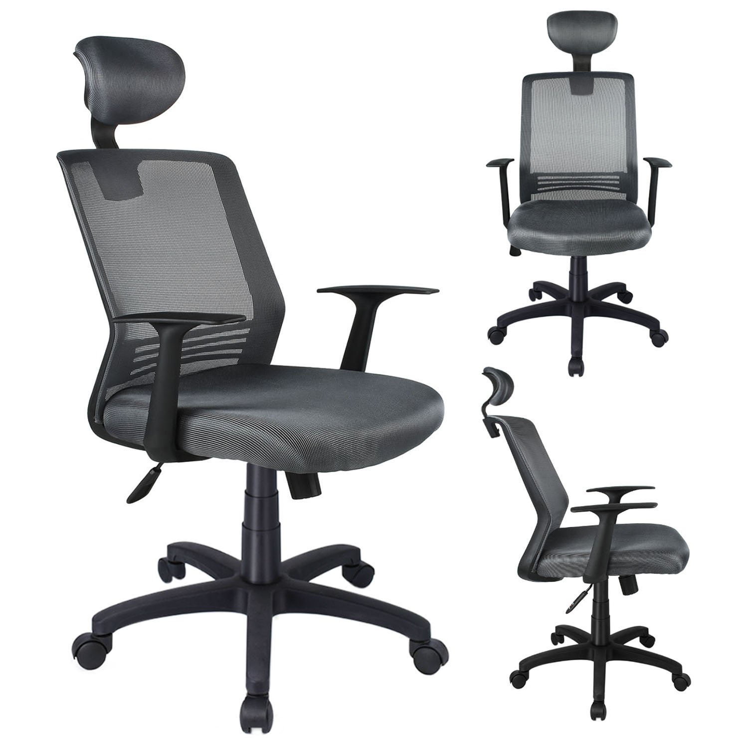 Ezcheer Mid Back Office Chair Mesh Desk Chair with Adjustable Lumbar Support and Headrest