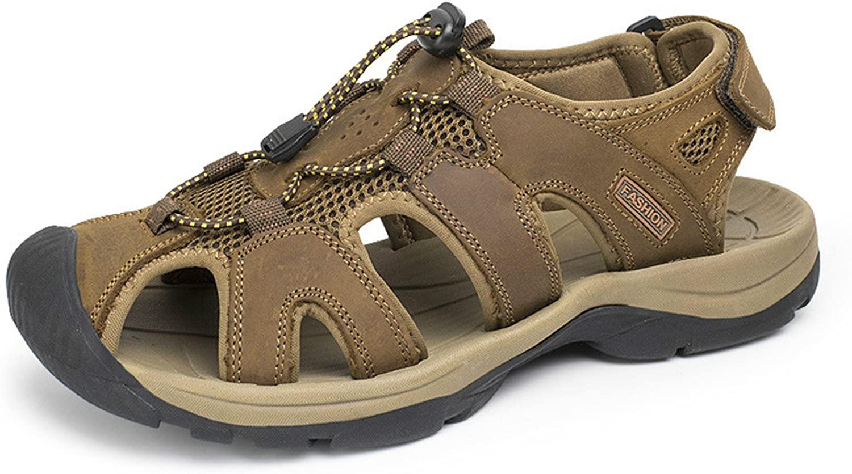 Willie Marlow Plus Size 38-47 Men Sandals Genuine Leather Fashion Summer Slippers Breathable Dark Brown 10