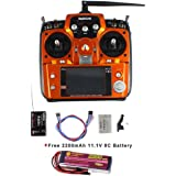 Weyland RadioLink AT10II 2.4Ghz 10CH RC Transmitter with R10DII Receiver PRM-01 Voltage Return Module for RC Aircraft Racing Drone+2200mAH 11,1V 8C Battery
