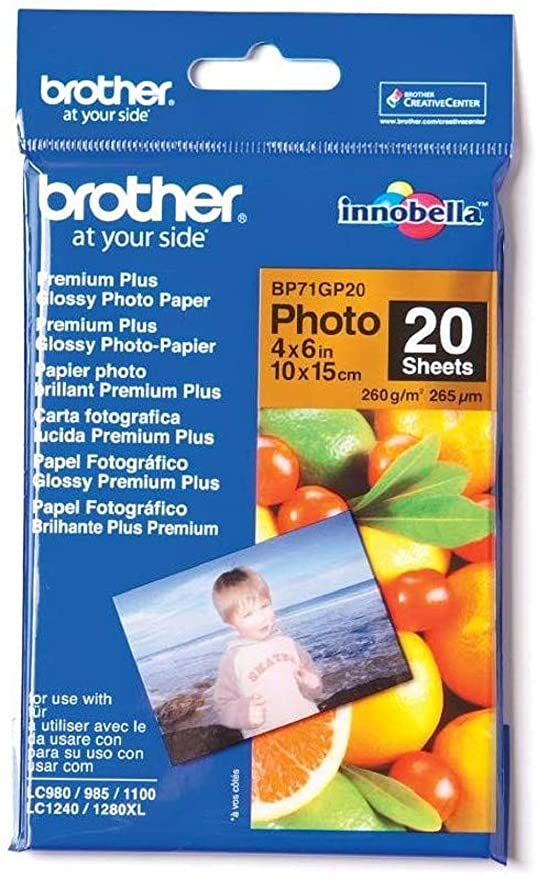 Brother BP71GP20 - Pack de 20 hojas de papel fotográfico Glossy Premium 10x15 (260 g/m2)