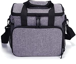 HMQINYI Large Lunch Box,Leakproof Lunch Bag for Men Women Adult Picnic Soft Cooler Bag for Work Office Beach 14L,20 Cans (GREY)
