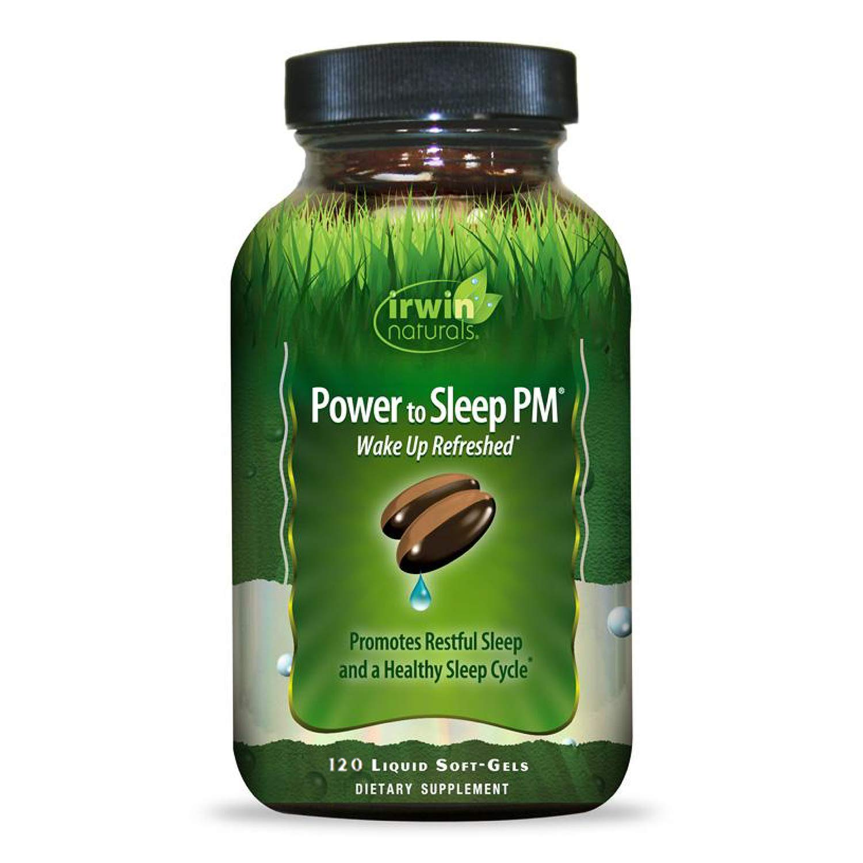Irwin Naturals Power to Sleep PM - Relaxing Blend of Melatonin, GABA, Ashwagandha, Valerian, L-Theanine & More - Calm Mind & Body - 120 Liquid Softgels by Irwin Naturals