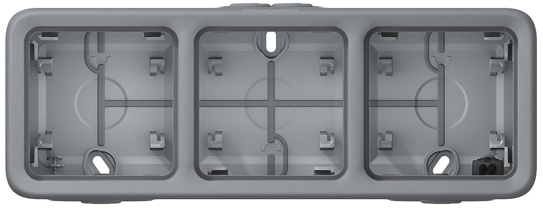 Legrand LEG69680 Plexo Boîtier à Embouts programmable 3 postes horizontaux Gris Appareillage va et vient 2P+T saillie fiche etanche plaque support