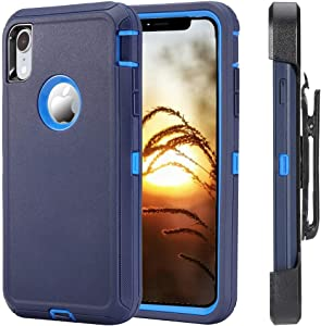 Case for iPhone XR Shockproof, [Without Screen Protector] Heavy Duty Holster Case Belt Clip + Armor Protective Kickstand Cover for iPhone XR 6.1 Inch (2018 Released) Navy/Blue