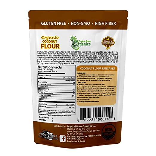 Organic Coconut Flour by Tropical Green Organics, Low Carb, High Fiber,  Non-GMO and