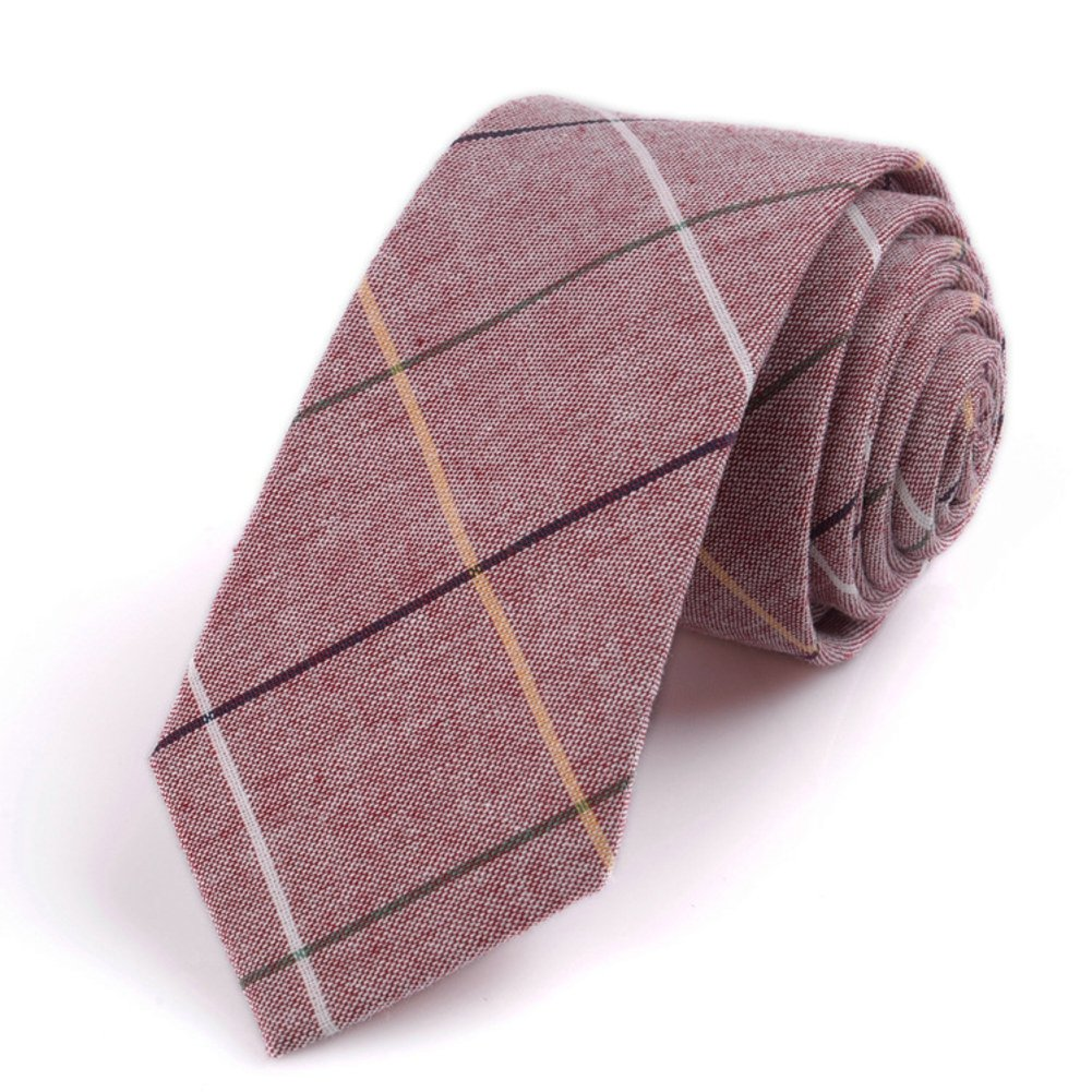 Men's Chambray Plaid Cotton Necktie Skinny Slim Tie (Pink checked) by OVOV