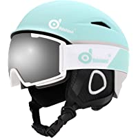Odoland Ski Helmet with Ski Goggles, Multi-Options Snowboard Helmet and Goggles Set for Men Women and Youth