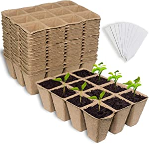 Foward Seed Starter Peat Pots,15 Premium Seed Starter Trays,Peat Pots for Garden Seed Germination Trays,Planting pots,Nursery Biodegradable Germination Seeding Trays, with 15 Plastic Plant Labels.