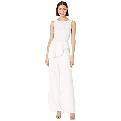 Adrianna Papell Women's Sleeveless Beaded Bodice Knit Crepe Jumpsuit with Peplum: Clothing