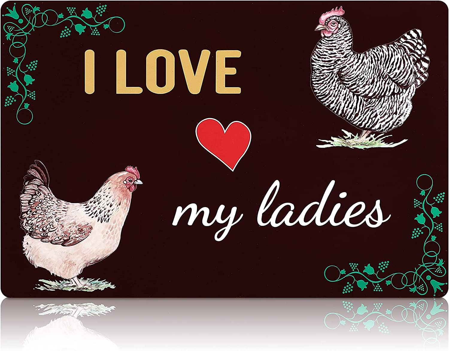Queekay Chicken Coop Sign I Love My Ladies Chicken Farm Decor Rooster and Hen House Signs Aluminum Metal, Funny Presents for Chicken Fan Lovers, Farm, Home, Kitchen, Outdoor Decoration, 8 x 12 Inch