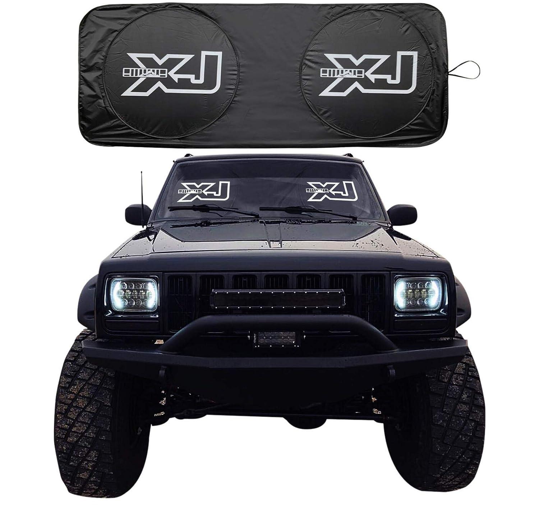 rorex jeep cherokee xj accessories, windshield sunshade, banner, sun shield, fits every year xj 1984 2001, custom fit Jeep Wrangler Fog Lights
