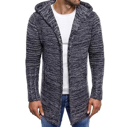 HWTOP Pullover Strickjacken Hooded für Herren, Pullovermantel Lang, Cardigan Trenchcoat Große Größen, Strickpullover Locker,