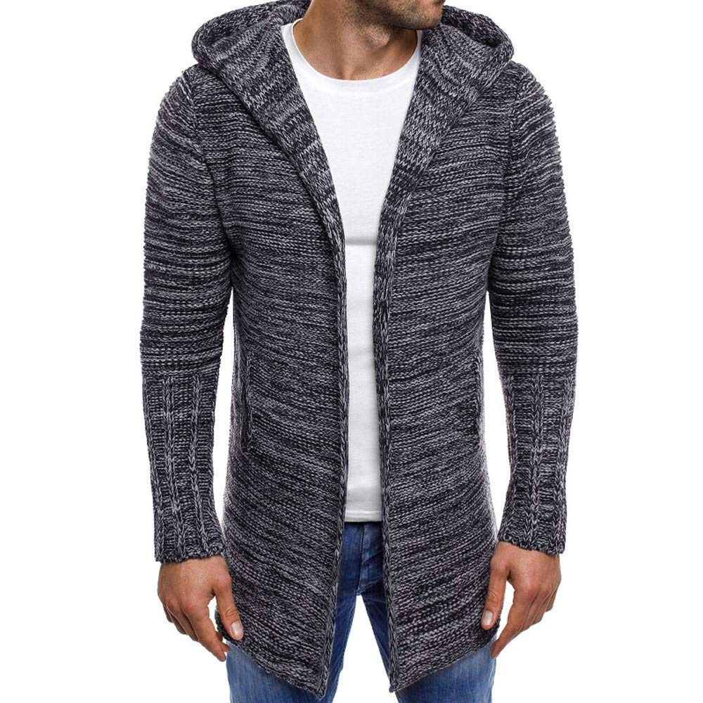 WUAI Clearance Men's Lightweight Jackets Casual Eco Fleece Warm Cardigan Hoodie Outwear(Dark Grey,US Size XL = Tag 2XL) by WUAI