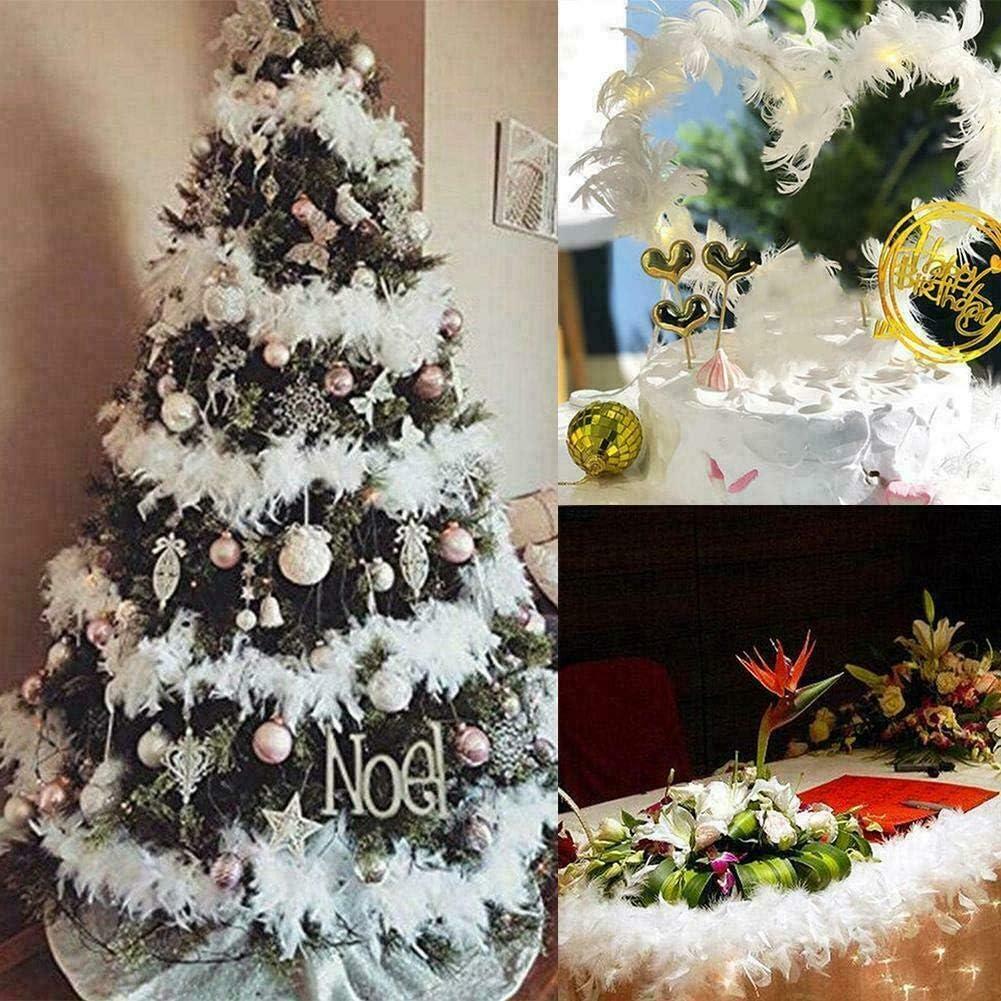 BSTQC banda de plumas /árbol de Navidad blanco pluma Boa Strip,2 m /árbol de Navidad blanco pluma Boa tira de Navidad cinta decoraci/ón de fiesta guirnalda