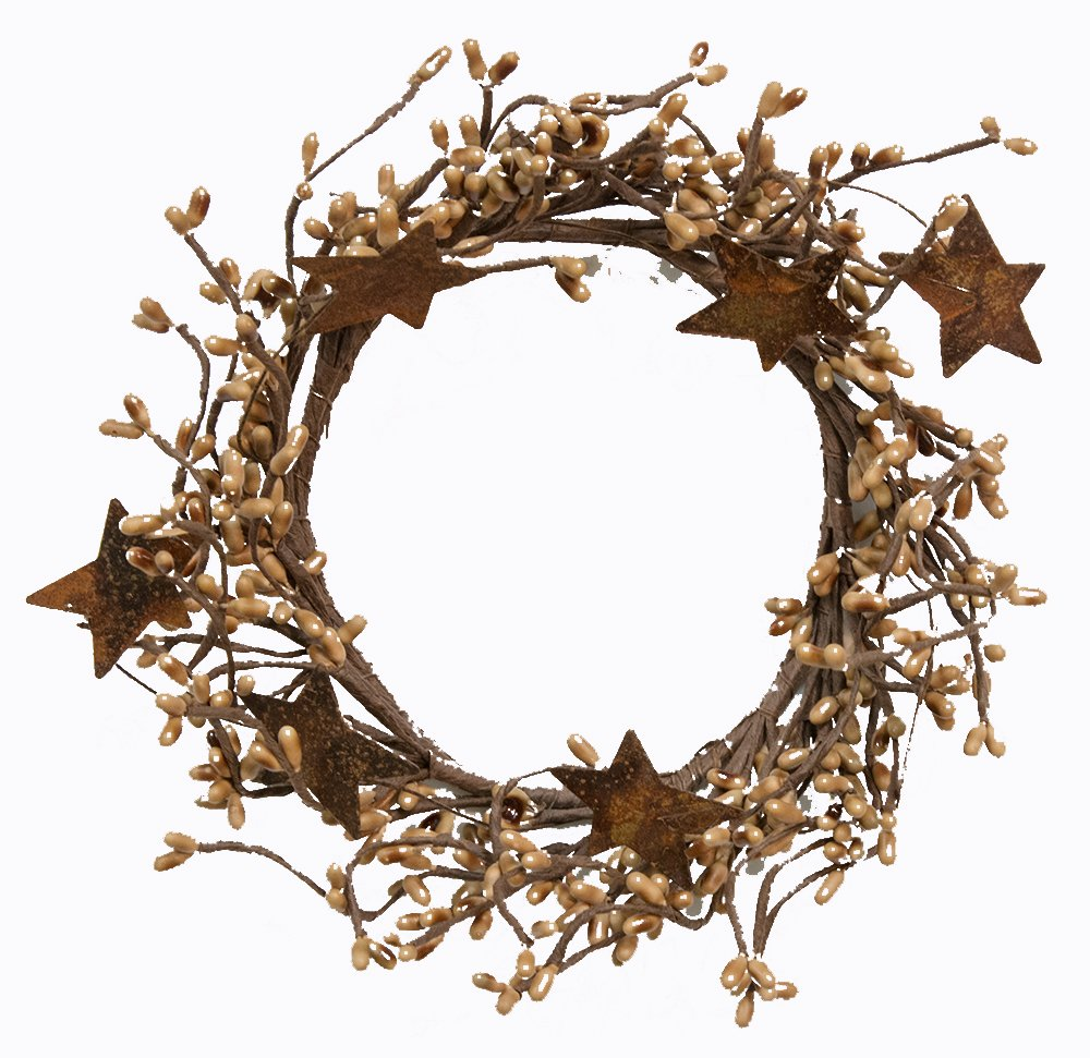 CWI Gifts Pip Ring with Rusty Stars, 4 by 8-Inch, Tea Stain FT1038TSA