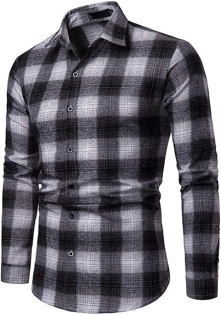 Julitia 2019 New Spring Autumn Men Plaid Shirt 100/% Cotton Chemise Homme