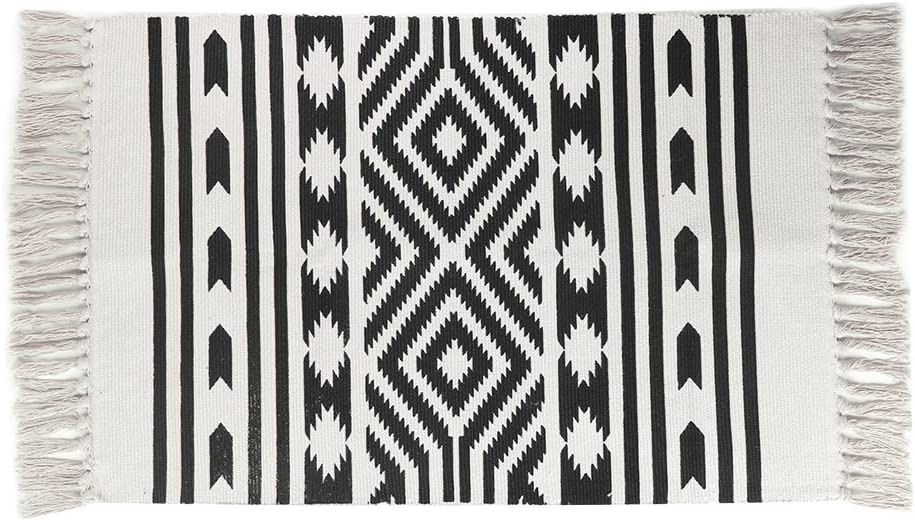 Cotton Printed Rug, Seavish Decorative Nordic with Tassels Geometric Kilim Rug Hand Woven Rag Rug Entryway Thin Throw Rug 2x3 for Living Room Laundry Room Dorm