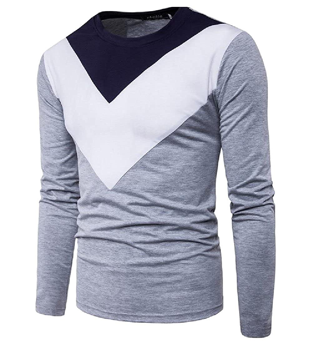 CrazyDay Mens Long Sleeve Slim Novelty T-Shirt Stitching Pullover