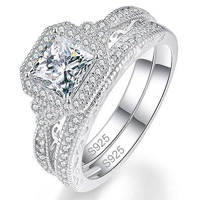 42b276c83cc BONLAVIE Womens Wedding Engagement Ring Set 925 Sterling Silver Princess  Cubic Zirconia CZ Size 6-9