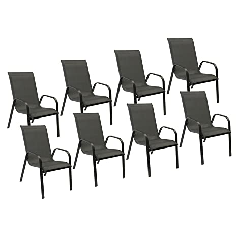 Chaises de table de jardin Aluminium Noir Happy Garden Lot ...