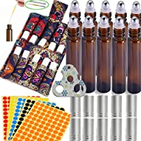 15PACK Esenciales Carrying Case Holds roll on vidrio 5ml 10 ml Perfect for Travel Home Stock Include 10 Pack Roll Bottles with Stainless Steel Roller Ball And 1X Opener and 2X 3ml Dropper for Essential Oils Some Stickers(A With 10Ml Bottles)