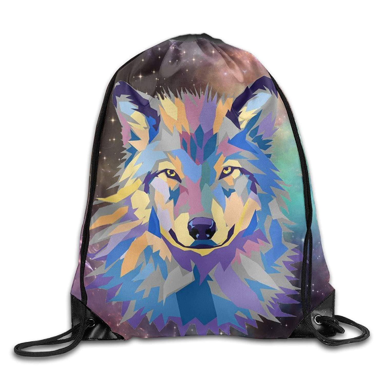 Colorful Wolf Galaxy Unisex Drawstring Backpack Travel Sports Bag Drawstring Beam Port Backpack.
