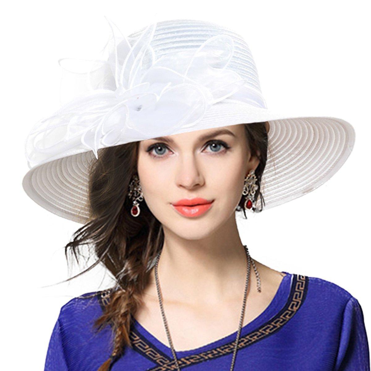 Kentucky Derby Church Dress Hat Wide Brim Leaf Flower Bridal Shower Hat (White)