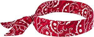 Cooling Bandana, Red Western, Evaporative Polymer Crystals For Cooling Relief, Tie For Adjustable Fit, Ergodyne Chill ITS 6700