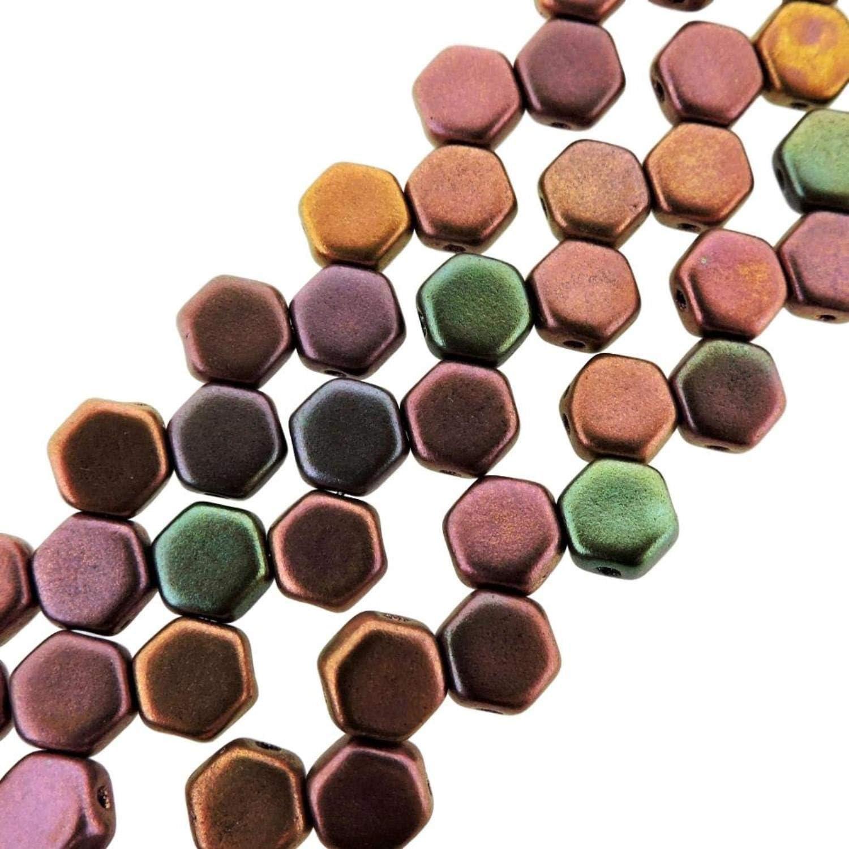 Beadweavng 2-hole Hexagon 6mm czech glass Honeycomb hex15 CRYSTAL bracelets, approx 30 beads per strand