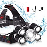 LED Headlamp, XM-L T6 High Lumen Waterproof 5 Led 4 Modes Silver Plated Headlight Rechargeable Flashlight for Camping…