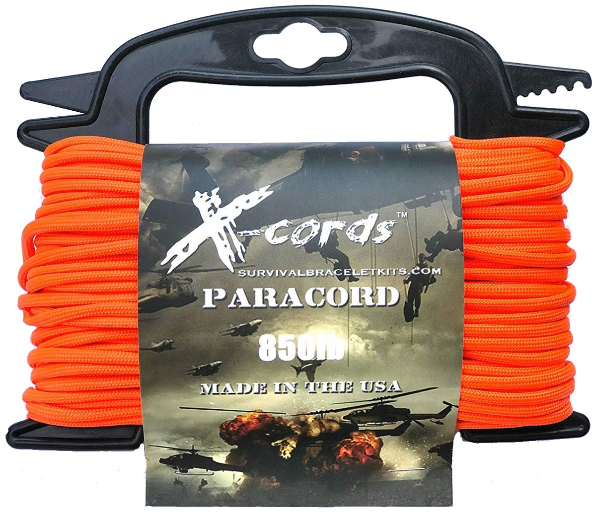 X-CORDS Paracord 850 Lb Stronger Than 550 and 750 Made by Us Government Certified Contractor (100' Orange ON Spool 850LB) by X-CORDS
