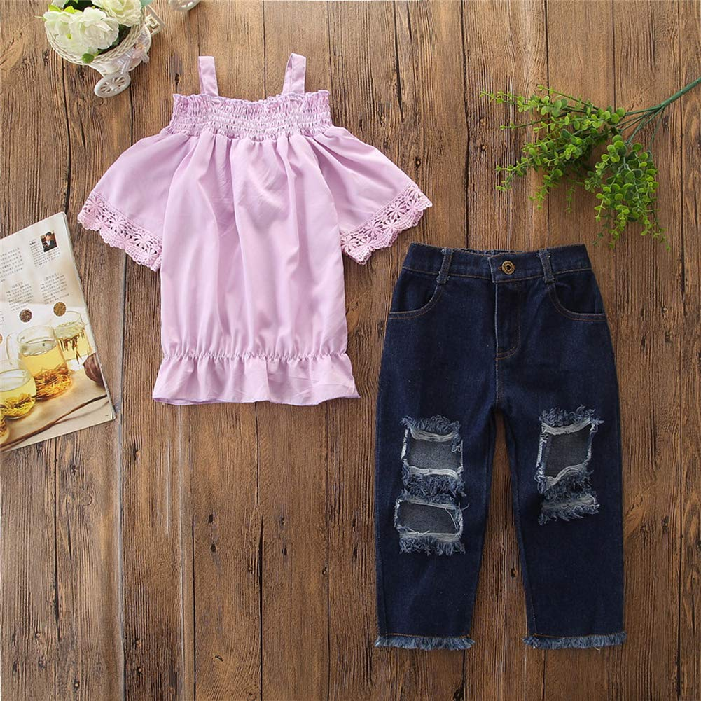 Ripped Jeans 2PCs Pant Set Toddler Kid Girl Off Shoulder Lace Short Sleeve Ruffle Crop Top