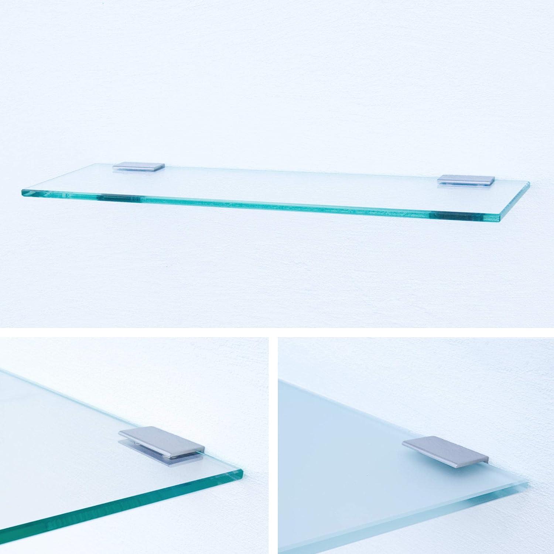 Halterung H Klarglas Chrom glanz optik Glasregal 600x150x8mm