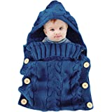 Oenbopo Newborn Baby Wrap Swaddle Blanket, Baby Kids Toddler Knit Blanket Swaddle Sleeping Bag Sleep Sack Stroller Wrap for 0-12 Month Baby - Blue