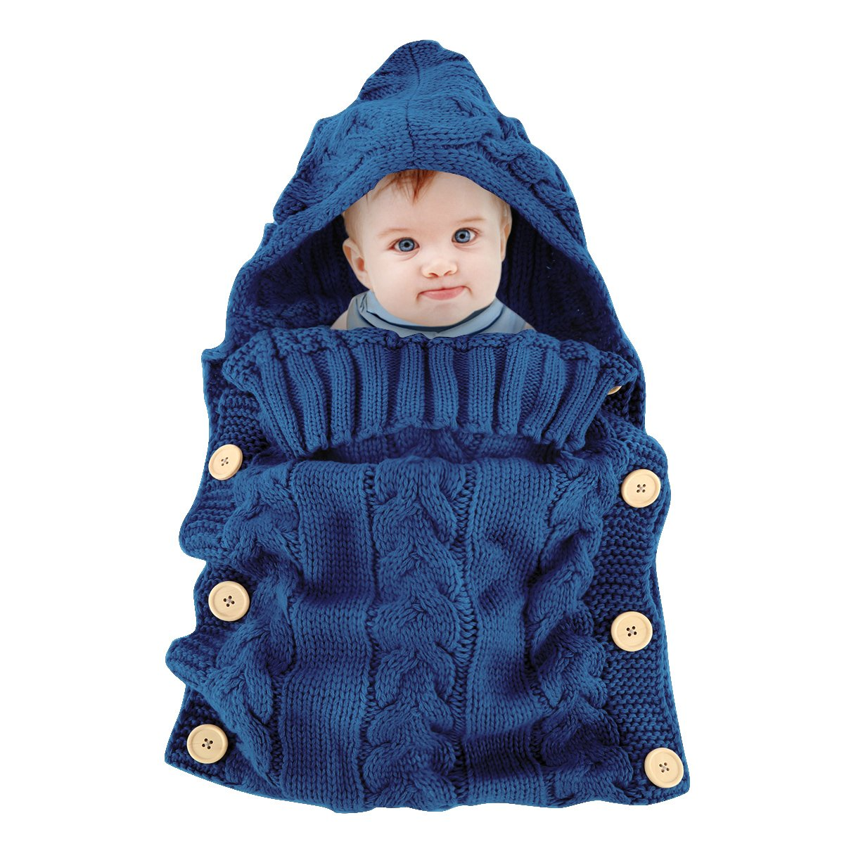 Colorful Newborn Baby Wrap Swaddle Blanket, Oenbopo Baby Kids Toddler Knit Blanket Swaddle Sleeping Bag Sleep Sack Stroller Wrap for 0-12 Month Baby (Blue)
