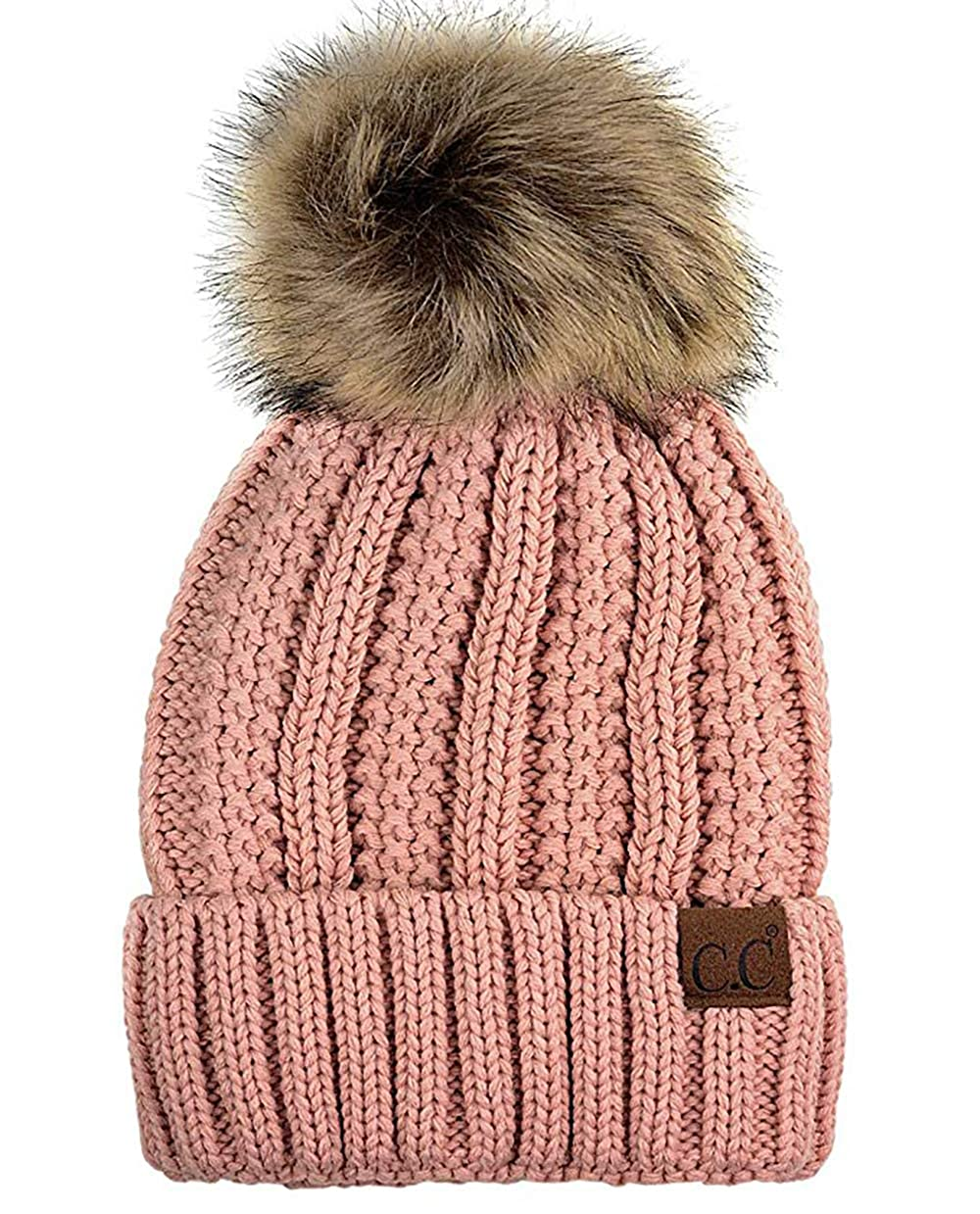 163fcfb56 CC Quality Women's Faux Fur Pom Fuzzy Fleece Lined Slouchy Skull Thick  Cable Beanie hat