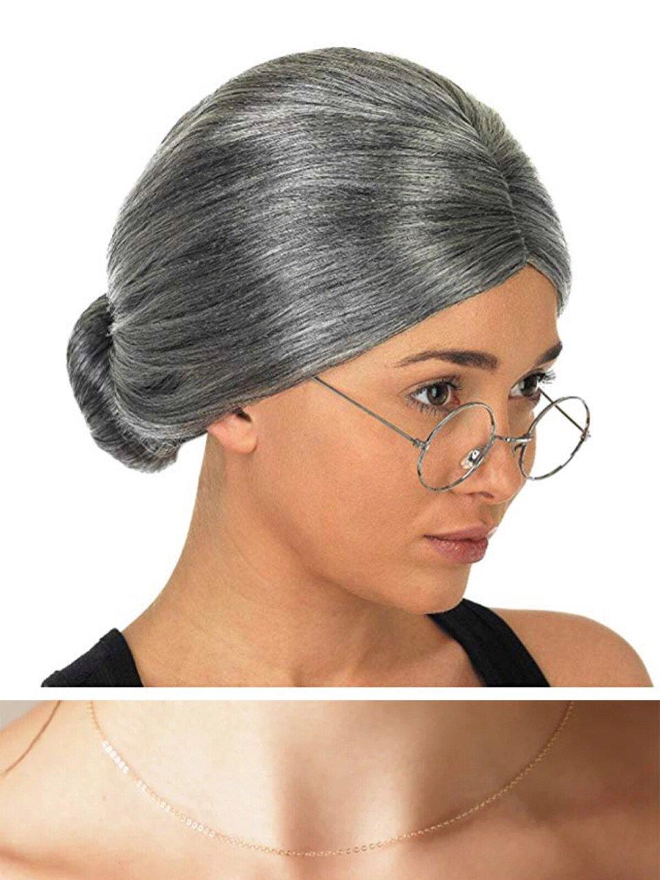 thematys/® Abuela Abuelita Peluca Disfraz de Adulto Carnaval Mujeres Hombres Collar Gafas