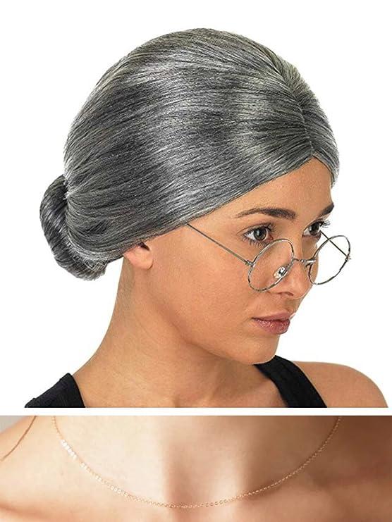thematys® Abuela Abuelita Peluca + Gafas + Collar - Disfraz de Adulto - Perfecto para Carnaval - Mujeres Hombres: Amazon.es: Juguetes y juegos