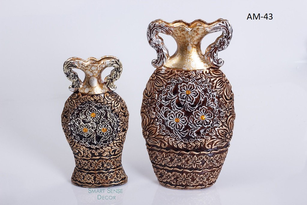 Smartsense Vintage Gold and Silver color Ceramic Vases 5.5 Inches & 4 inches 2 pcs Flower Vase Gift Set Traditional Handicraft Design Of Love Brand New( Color: Brown) by Smartsense Decor