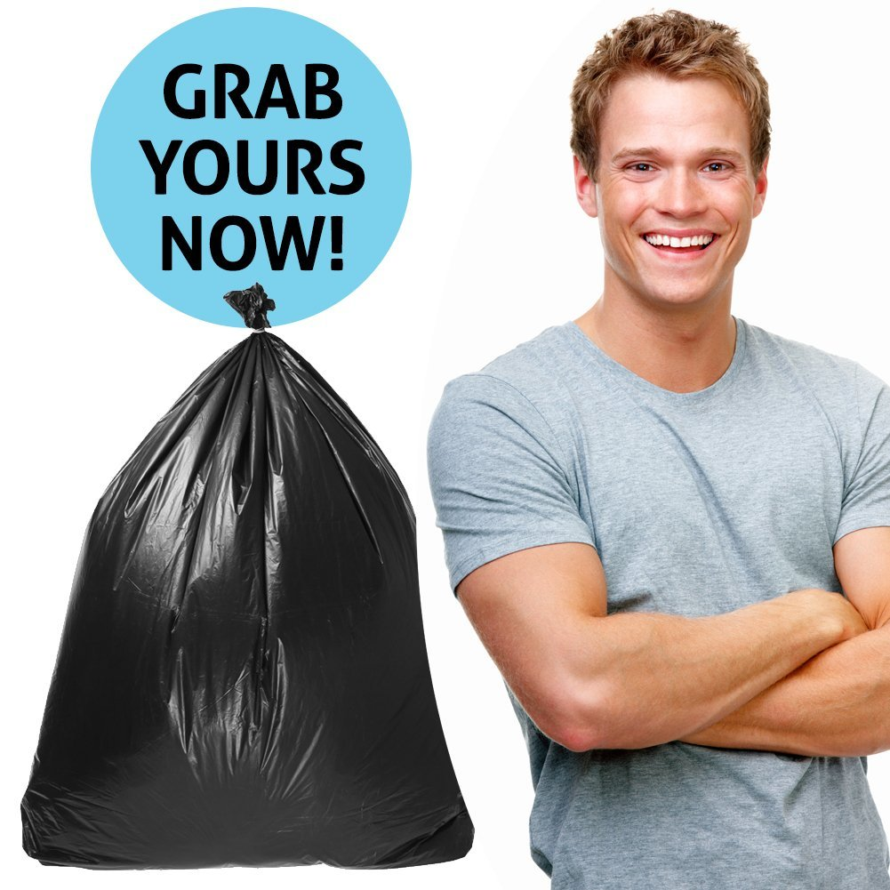 Duty Trash Bag | 50 counts 65 gallons Capacity Heavy-Duty 1.5 mil Thickness No Leak or Tear Weatherproof Low-Density Can Liners | 47'' x 55'' HDPE Puncture-Resistant Black Garbage Bag | 1580 by Big Bag Trash (Image #7)