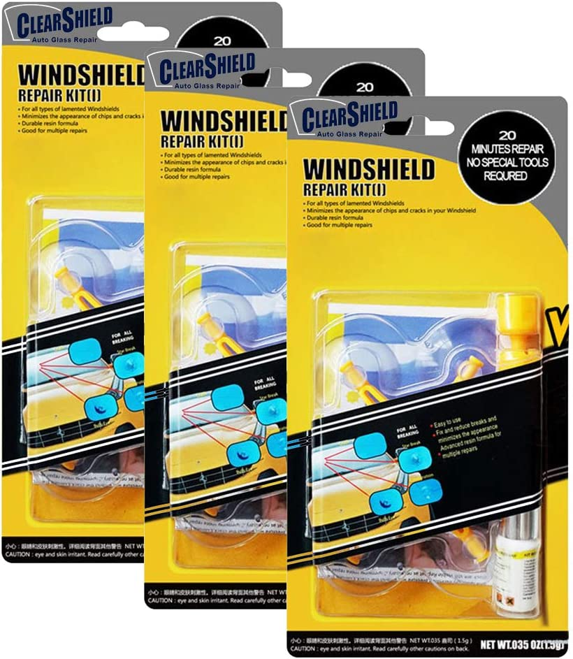 Clearshield Windshield Repair Kit DIY Auto Glass Rock Chip Repair Kit for Star Horseshoe Bull's Eye Chips or Cracks - No Need to Replace The Whole Windshield - with Instructions (3 Pack)