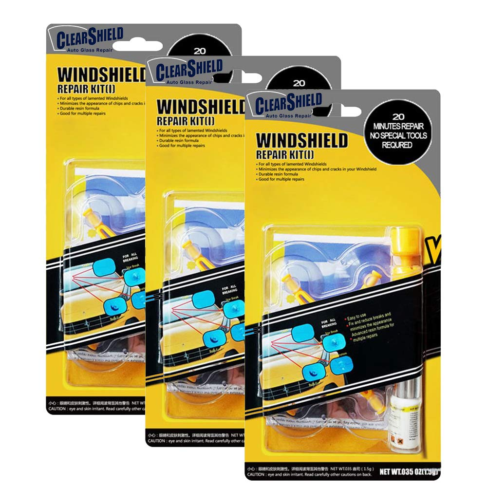 Windshield Repair Kit by Clearshield - DIY Auto Glass Rock Chip Repair Kit for Star Horseshoe Bull's Eye Chips or Cracks - No Need to Replace the Whole Windshield - with Instructions (3 Pack) by Clearshield (Image #9)