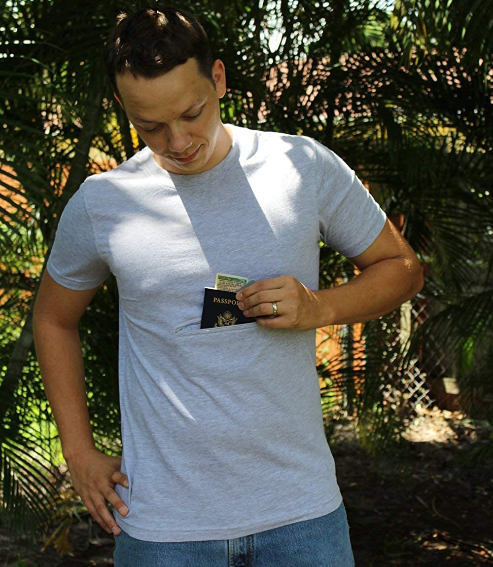 Clever Travel Companion Crew Neck T-Shirt with Secret Pocket