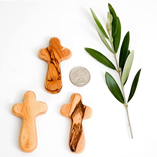 Certified Holy Land Olive Wood Caring Holding Cross 50, Small Pocket Cross- 2.7 x 1.5 x 0.4 inches