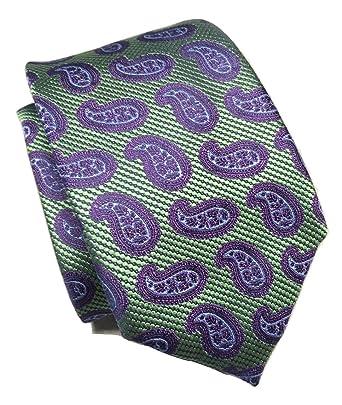 dae92f19c73c4 Image Unavailable. Image not available for. Color: New Men's Ermenegildo  Zegna Green/Blue Paisley Pattern Italian Silk Tie