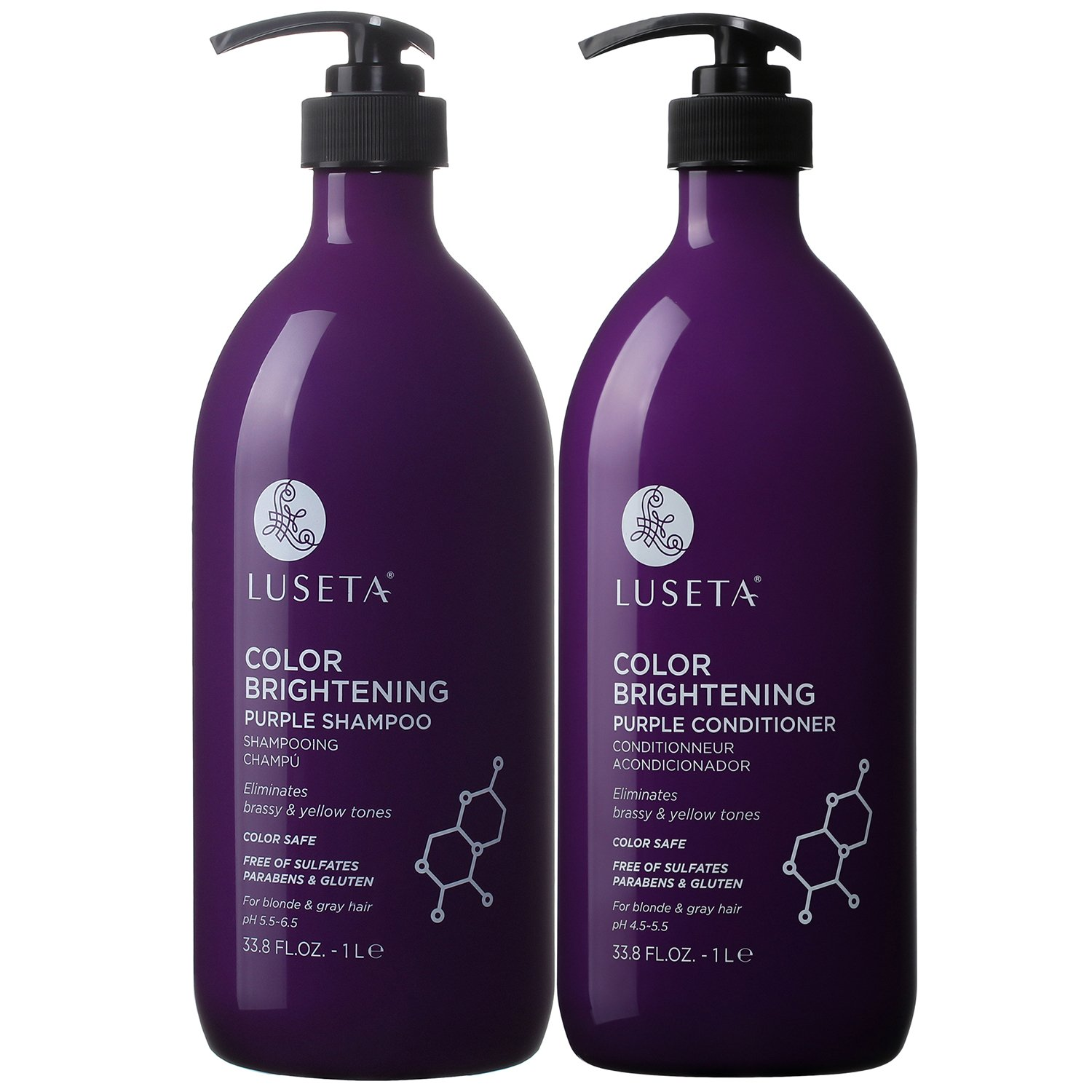 Luseta Color Brightening Purple Shampoo and Conditioner Set for Blonde and Gray Hair, Infused with Cocos Nucifera Oil to Help Nourish, Moisturize and Condition Hair, 2x33.8oz by L LUSETA