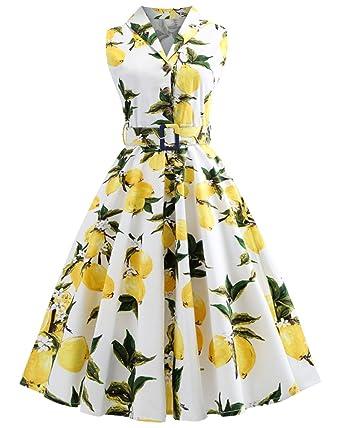 2de9bd4161fd2a ZAFUL Women's Vintage Plus Size 1950s Rockabilly Audrey Lemon Dress Button  Lapel Sleeveless Floral Cocktail Dress