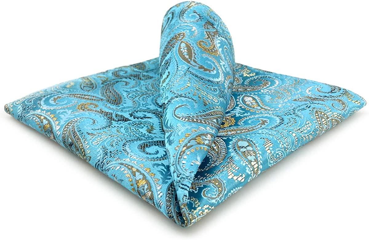 SHLAX/&WING Blue Pocket Squares for Men Paisley Silk Large Hanky 12.6 inches