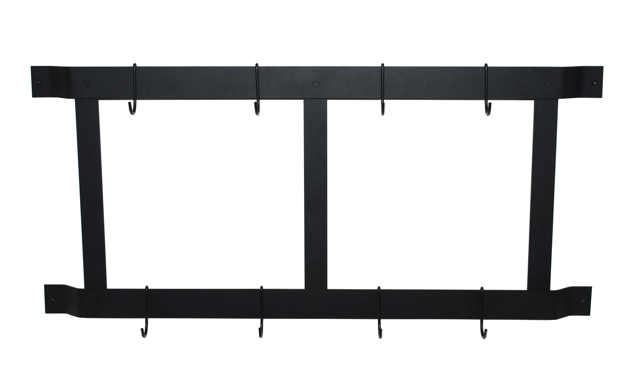 Rogar Ultimate Wall Mounted Pot Rack Vertical/Horizontal in Black by Rogar