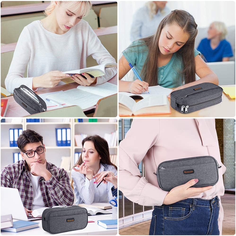 Homecube Big Capacity Pencil Pen Case Bag Pouch Holder Multi-Pocket Stationery Bag with Zipper for School /& Office Supplies Middle High College Girl Adult Dark Gray